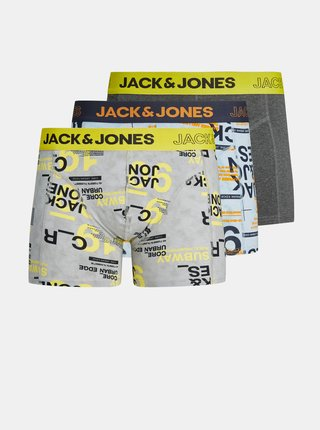 Sada tří vzorovaných boxerek v modré a šedé barvě Jack & Jones Lewis