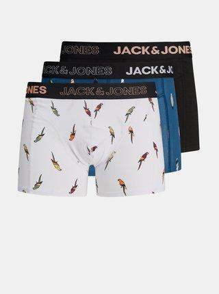 Sada tří vzorovaných boxerek v bílé a modré barvě Jack & Jones Poul