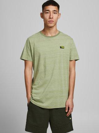 Zelené žíhané tričko s nášivkou Jack & Jones Trick