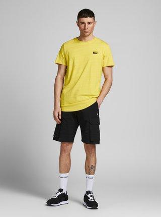 Žlté žíhané tričko s nášivkou Jack & Jones Trick