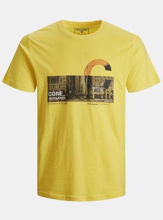Žlté tričko s potlačou Jack & Jones Walk