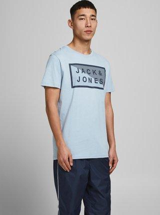 Svetlomodré tričko s potlačou Jack & Jones Shawn