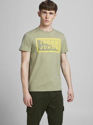 Svetlozelené tričko s potlačou Jack & Jones Shawn