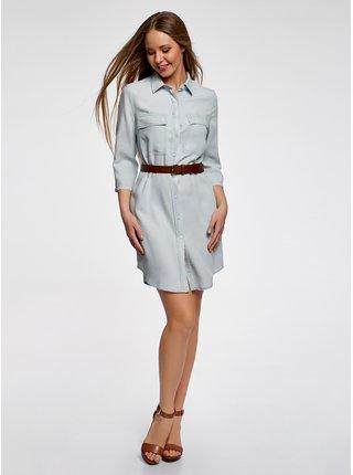 Šaty košeľové džínsové s vreckami na prsiach OODJI