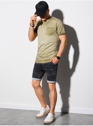 Pánske tričko bez potlače S1388 - olivová