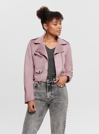 Ružová krátka bunda v semišovej úprave ONLY Sherry