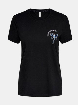Černé tričko s ozdobným detailem ONLY Kita