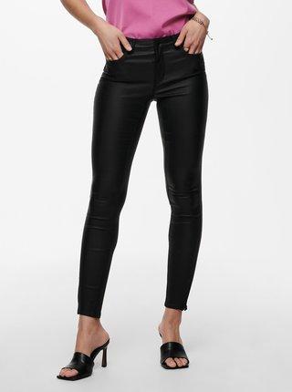Černé zkrácené koženkové skinny fit kalhoty ONLY Kendell