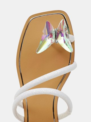 Biele dámske šľapky s ozdobným detailom ALDO Garberia