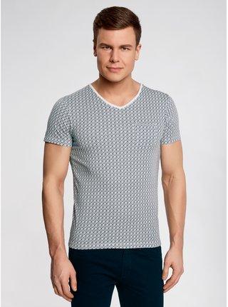 Tričko se vzorem s výstřihem do V OODJI