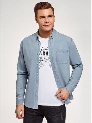 Košeľa džínsová s vreckom na prsiach OODJI