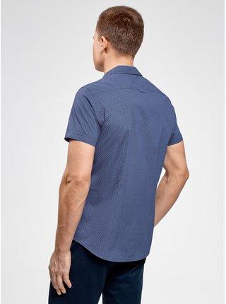Košeľa s potlačou s vreckom na prsiach OODJI