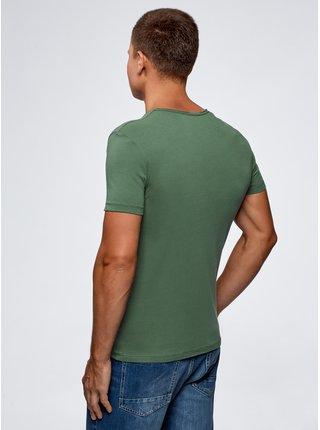 Tričko bavlněné s výstřihem do V OODJI