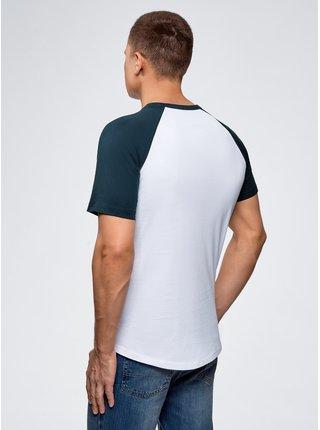 Tričko bavlnené s kontrastnými raglánovými rukávmi OODJI