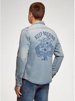 Košile džínová s kapsičkami na prsou OODJI