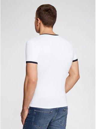 Tričko s výstřihem do V a kontrastním lemováním OODJI