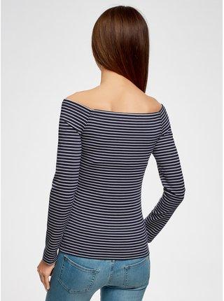 Tričko s dlouhým rukávem a lodičkovým výstřihem OODJI