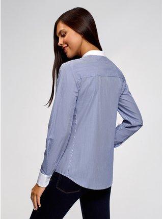 Košeľa bavlnená s kontrastným lemovaním OODJI