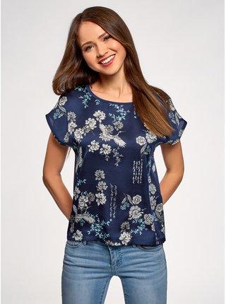 Tričko z kombinovaného materiálu s potlačou OODJI