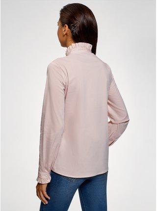 Košeľa s volánikmi na golieri OODJI