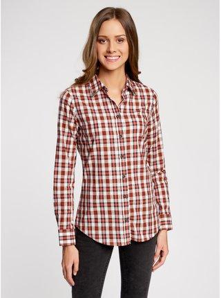 Košeľa bavlnená s ozdobeným golierikom OODJI