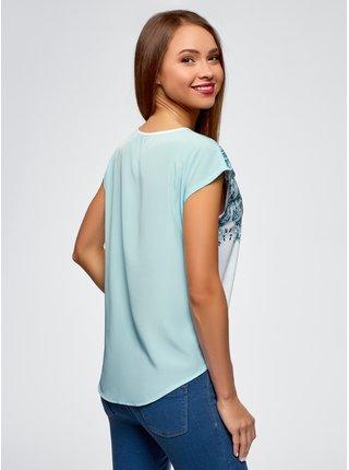 Tričko s potlačou s šifónovými chrbtom OODJI