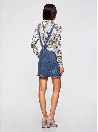 Šatová sukňa džínsová so zipsom OODJI