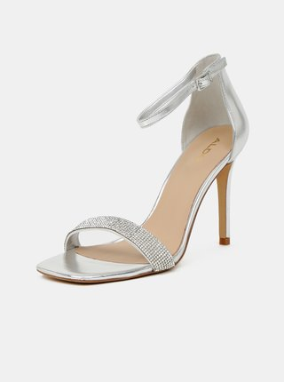 Sandálky v striebornej farbe na vysokom podpätku ALDO Afendaven