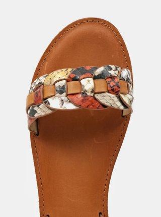 Hnedé dámske vzorované kožené sandále ALDO Ligaria