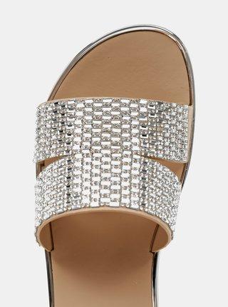 Dámské vzorované pantofle ve stříbrné barvě na platformě ALDO Ocigoveth
