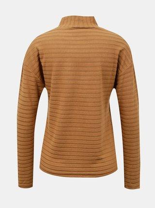 Hnědé pruhované tričko se stojáčkem ONLY Senada