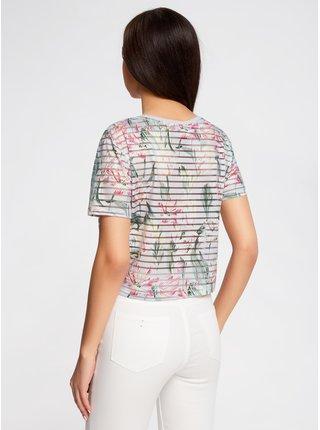 Tričko skrátené s priehľadnými prúžkami OODJI