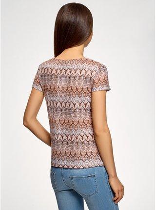 Tričko z materiálu s výraznou textúrou s etnickým vzorom OODJI