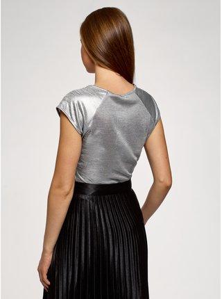 Tričko z materiálu s výraznou texturou s raglánovým rukávem OODJI