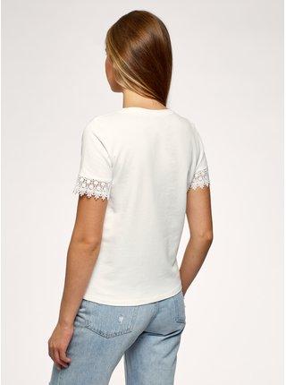 Tričko bavlnené s čipkou na rukávoch OODJI
