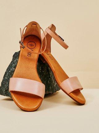 Světle růžové dámské kožené sandály OJJU