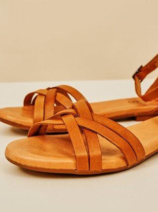 Hnědé dámské kožené sandály OJJU