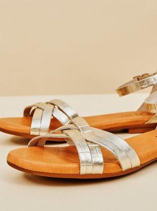 Dámské kožené dámské sandály ve stříbrné barvě OJJU
