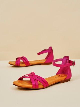Fialové dámske kožené sandále OJJU