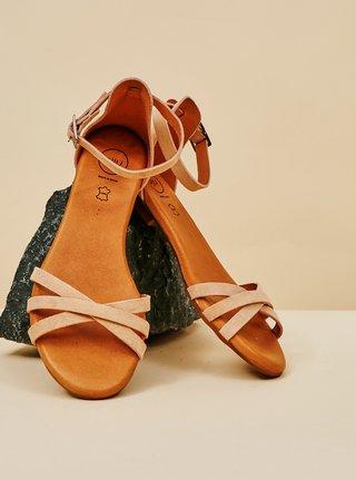 Starorůžové dámské semišové sandály OJJU