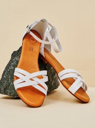 Bílé dámské kožené sandály OJJU