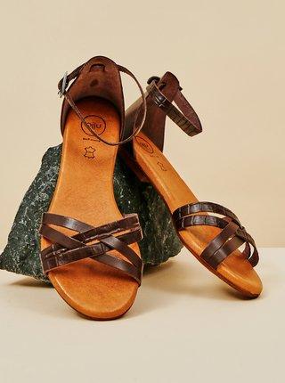 Tmavě hnědé dámské kožené sandály OJJU