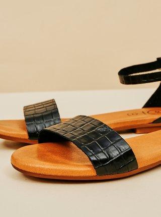 Černé dámské vzorované kožené sandály OJJU