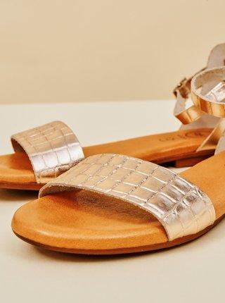 Dámské vzorované kožené sandály v růžovozlaté barvě OJJU