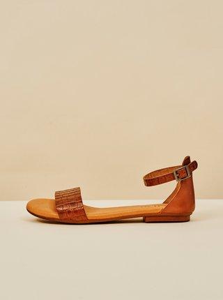 Hnědé dámské vzorované kožené sandály OJJU