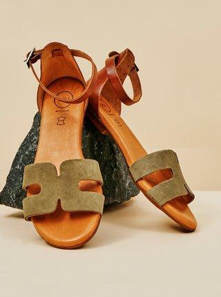 Khaki dámské semišové sandály OJJU