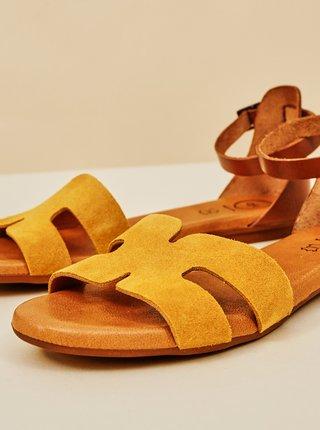 Žlté dámske semišové sandále OJJU