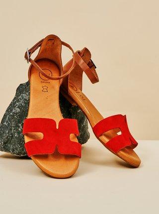 Červené dámské semišové sandály OJJU