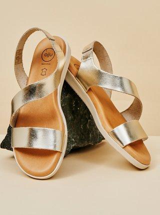 Dámské kožené sandály ve stříbrné barvě OJJU