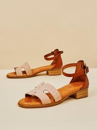 Světle růžové vzorované kožené sandálky na nízkém podpatku OJJU